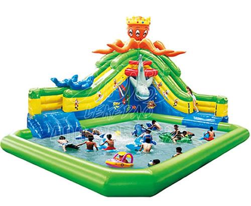移动水世界儿童水上乐园设备,大型充气水滑梯章鱼滑水